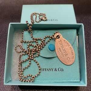 Auth Tiffany & Co. Oval tag necklace